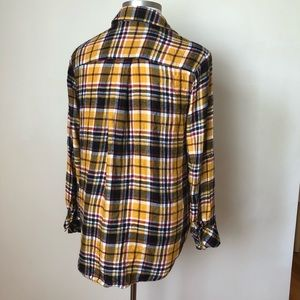 Lane Bryant Tops - Lane Bryant Fall Plaid Flannel Yellow Button-up